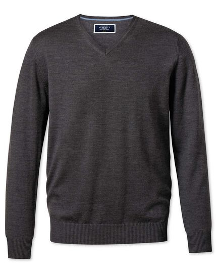Charcoal merino wool v-neck sweater