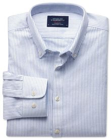 Extra slim fit blue stripe washed Oxford shirt