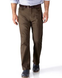 Camel classic fit 5 pocket textured dobby trousers
