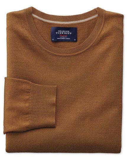 Tan merino wool crew neck jumper