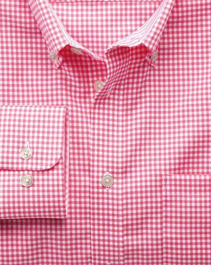 Bügelfreies Slim Fit Oxfordhemd in Rosa mit Gingham-Karos