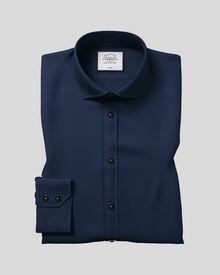 Slim fit cutaway non-iron twill navy blue shirt