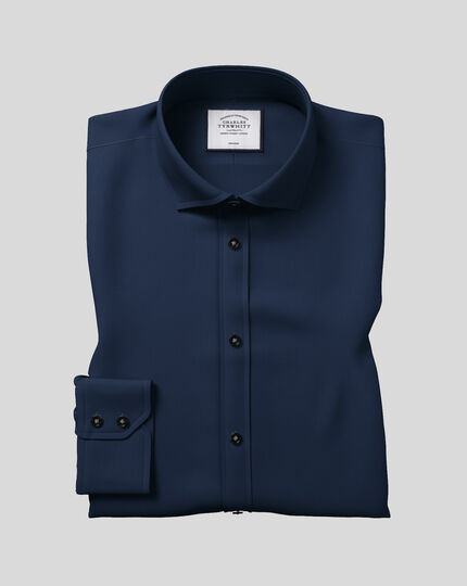 Extra slim fit spread collar non-iron twill navy blue shirt