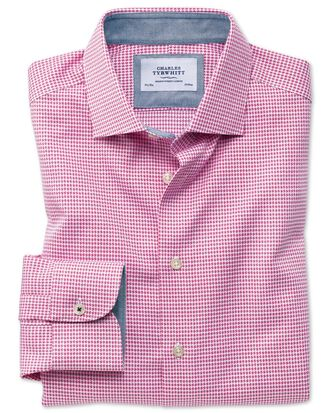 Extra slim fit semi-cutaway business casual non-iron modern textures pink puppytooth shirt
