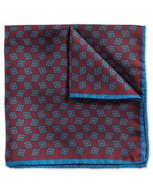 Burgundy blue luxury English printed geometric pocket square
