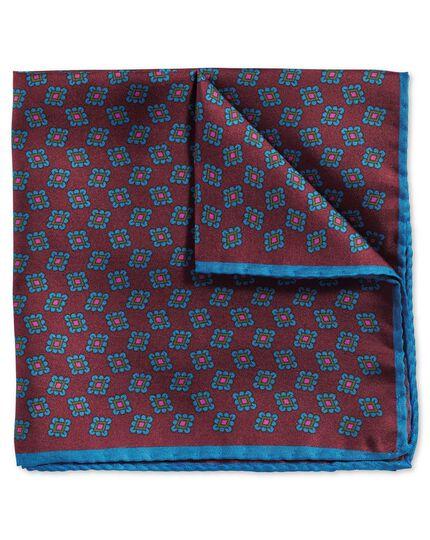 Luxuriöses englisches Einstecktuch in Burgunderrot und Blau mit geometrischem Print