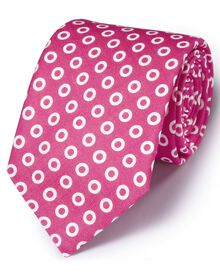 Pink linen  English luxury spot tie