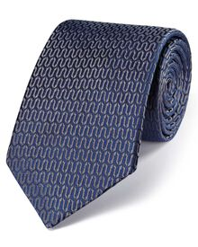 Navy and grey silk luxury English geometric tie