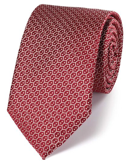Red silk wire lattice classic tie
