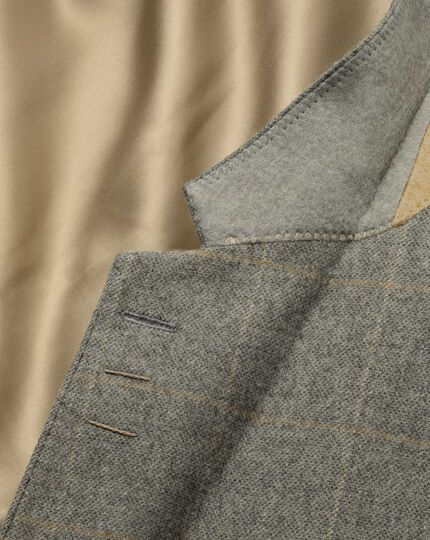 Slim fit grey check luxury border tweed jacket