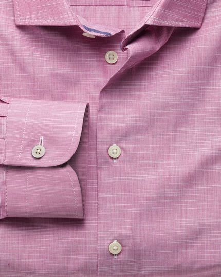 Extra slim fit semi-cutaway collar business casual slub cotton pink shirt
