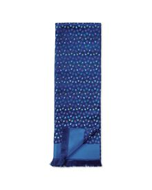 Navy multi spot silk luxury scarf