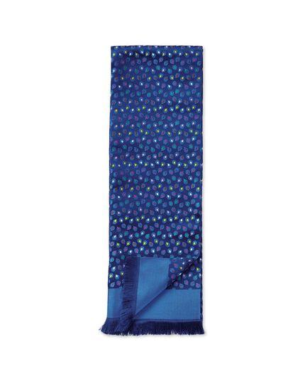 Navy multi spot silk luxury scarf