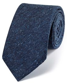 Navy silk luxury Italian textured fleck tie