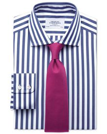 Slim fit semi-cutaway collar Egyptian cotton stripe navy shirt