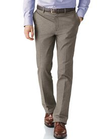 Beige slim fit cotton flannel trouser
