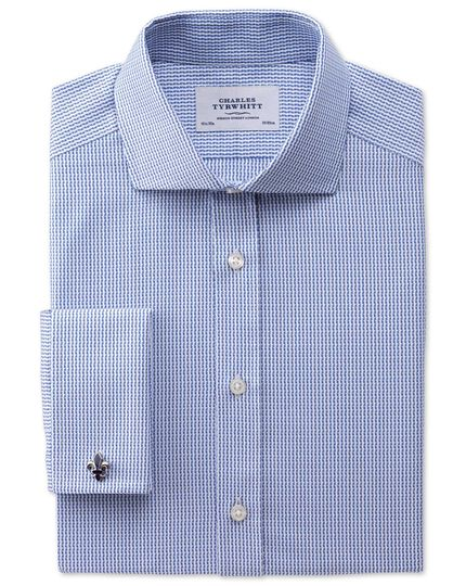 Extra slim fit spread collar Egyptian cotton textured stripe royal blue shirt