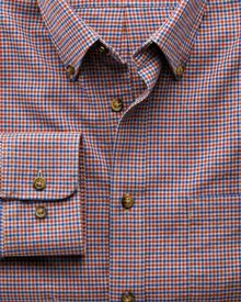 Classic Fit Hemd im Tweedlook in blau und orange mit Karos