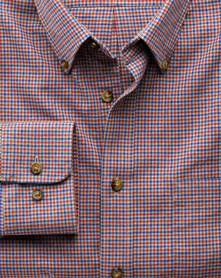 Slim fit blue and orange check tweed look shirt