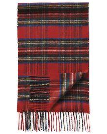 Red tartan cashmere scarf