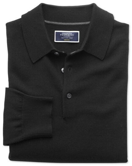 Black merino wool polo neck jumper