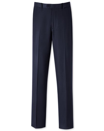 Classic Fit Sommeranzug Wilton Hose aus Seide und Leinen in marineblau