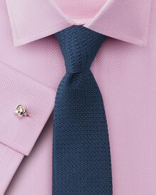 Extra slim fit non-iron Buckingham weave pink shirt