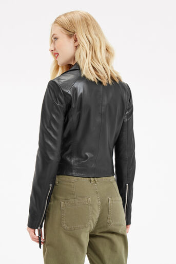 Oasis, LEATHER BIKER JACKET Black 3