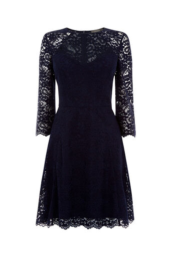 Oasis, LACE SLEEVE SKATER DRESS Navy 0