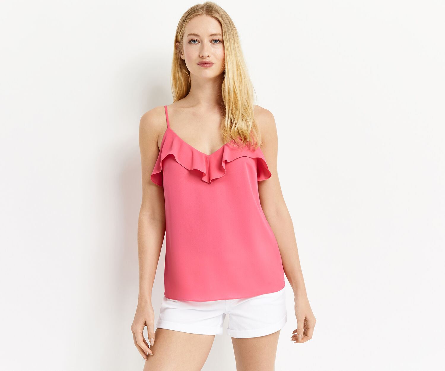 Oasis, RUFFLE STRAPPY CAMI Mid Pink 1