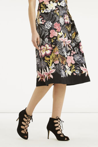 Oasis, Botanical Placement Midi Skirt Multi Black 1