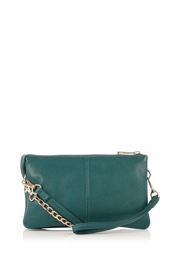 Oasis, LEATHER CROSS-BODY BAG Mid Green 0