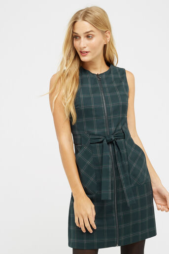 Oasis, CHECK ZIP FRONT DRESS Multi Green 1