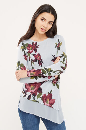Oasis, Painted rose asymmetric knit Mid Grey 1