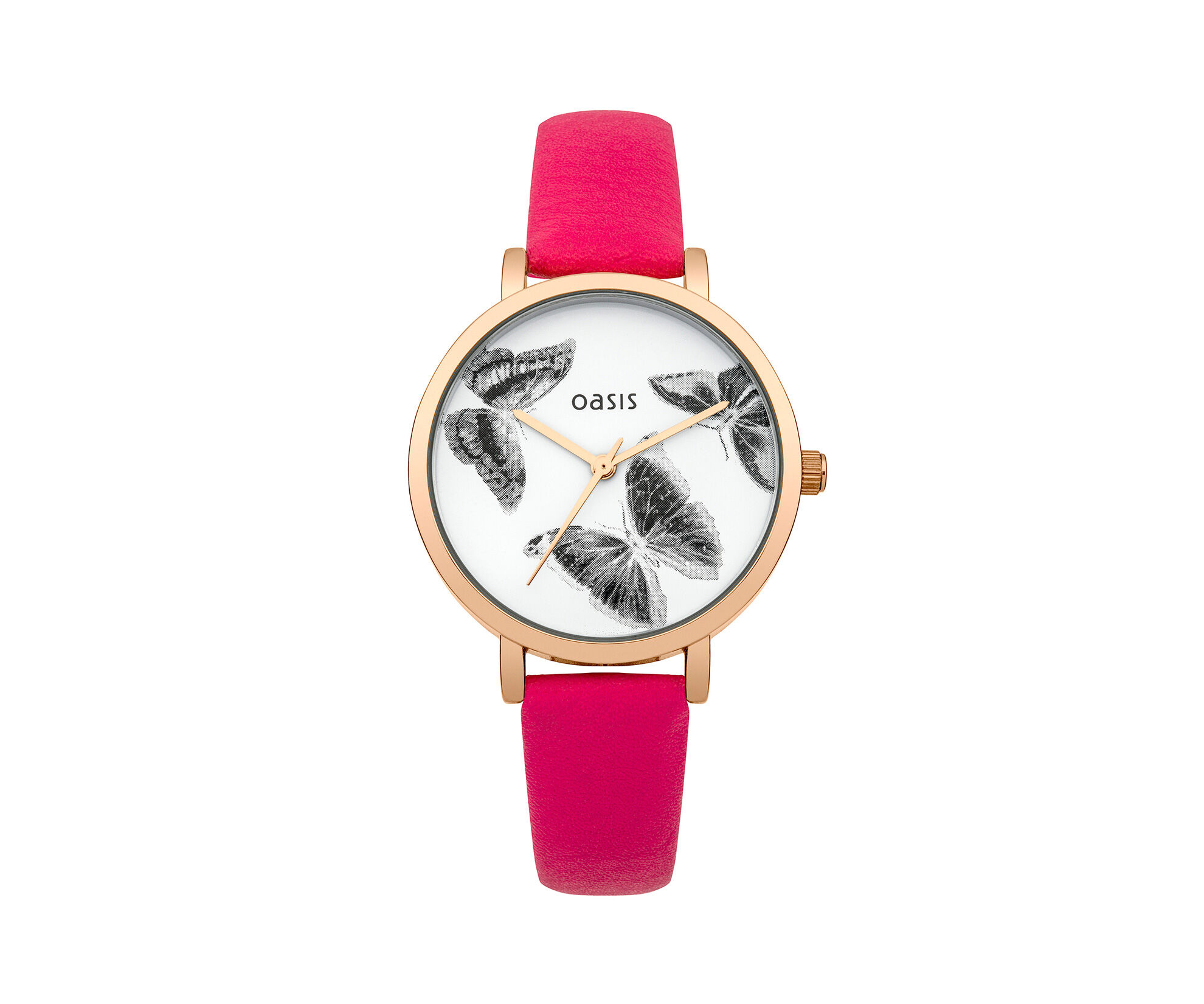Oasis, Pink Butterfly Dial Watch Mid Pink 0