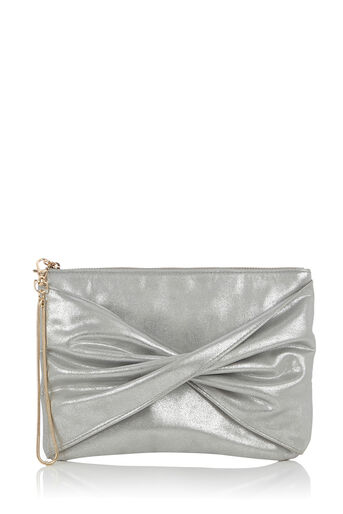 Oasis, TRACY TWISTED CLUTCH Silver Grey 0