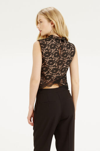 Oasis, Lace Frill Top Black 3
