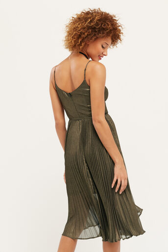 Oasis, Robe mi-longue plissée scintillante Doré 3