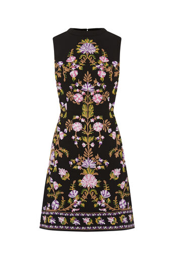 Oasis, EMBROIDERED HIGH NECK DRESS Multi Black 0
