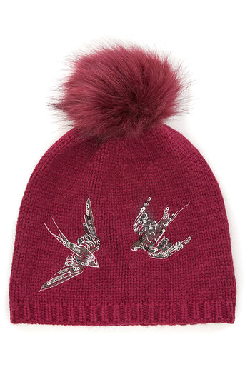 Oasis, SWALLOW EMBROIDERED BEANIE Burgundy 0