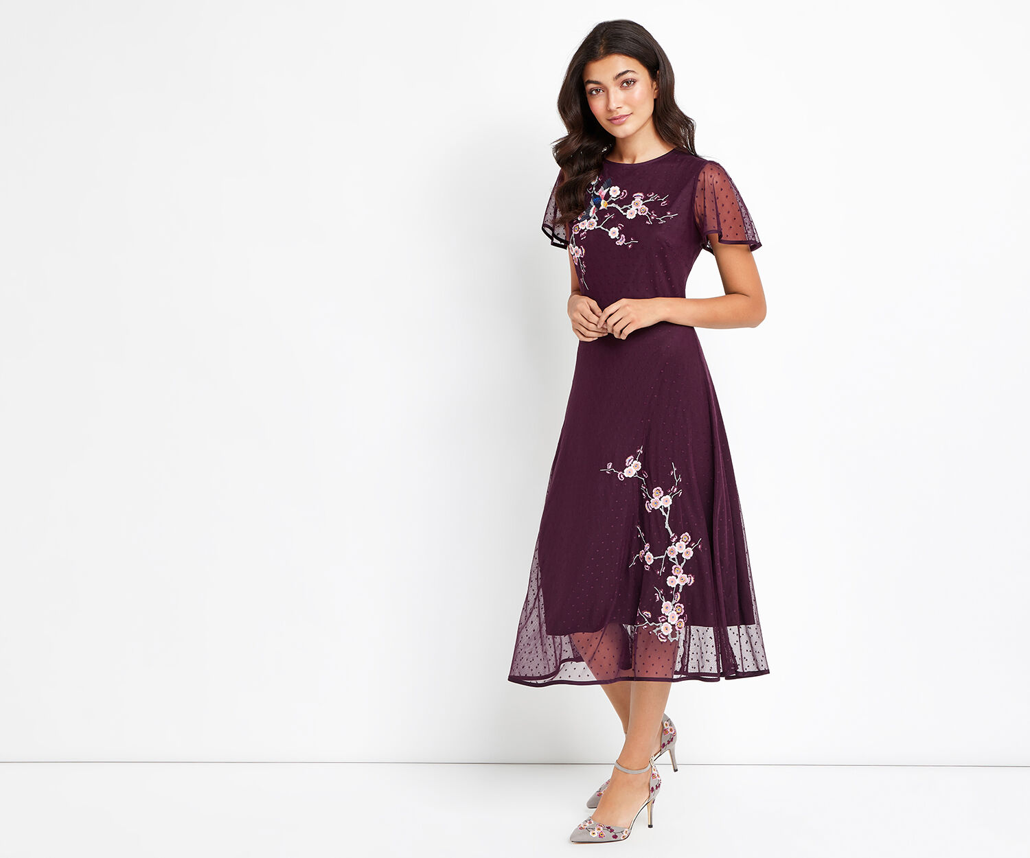 Oasis, EMBROIDERED MESH MIDI DRESS Dark Purple 1