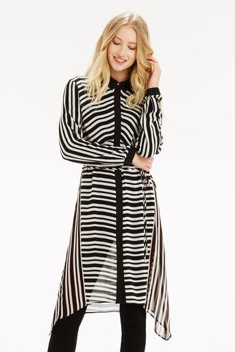 Oasis, Stripe Longline Shirt Multi Black 1