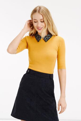 Oasis, Ditsy rib collar knit Ochre 1