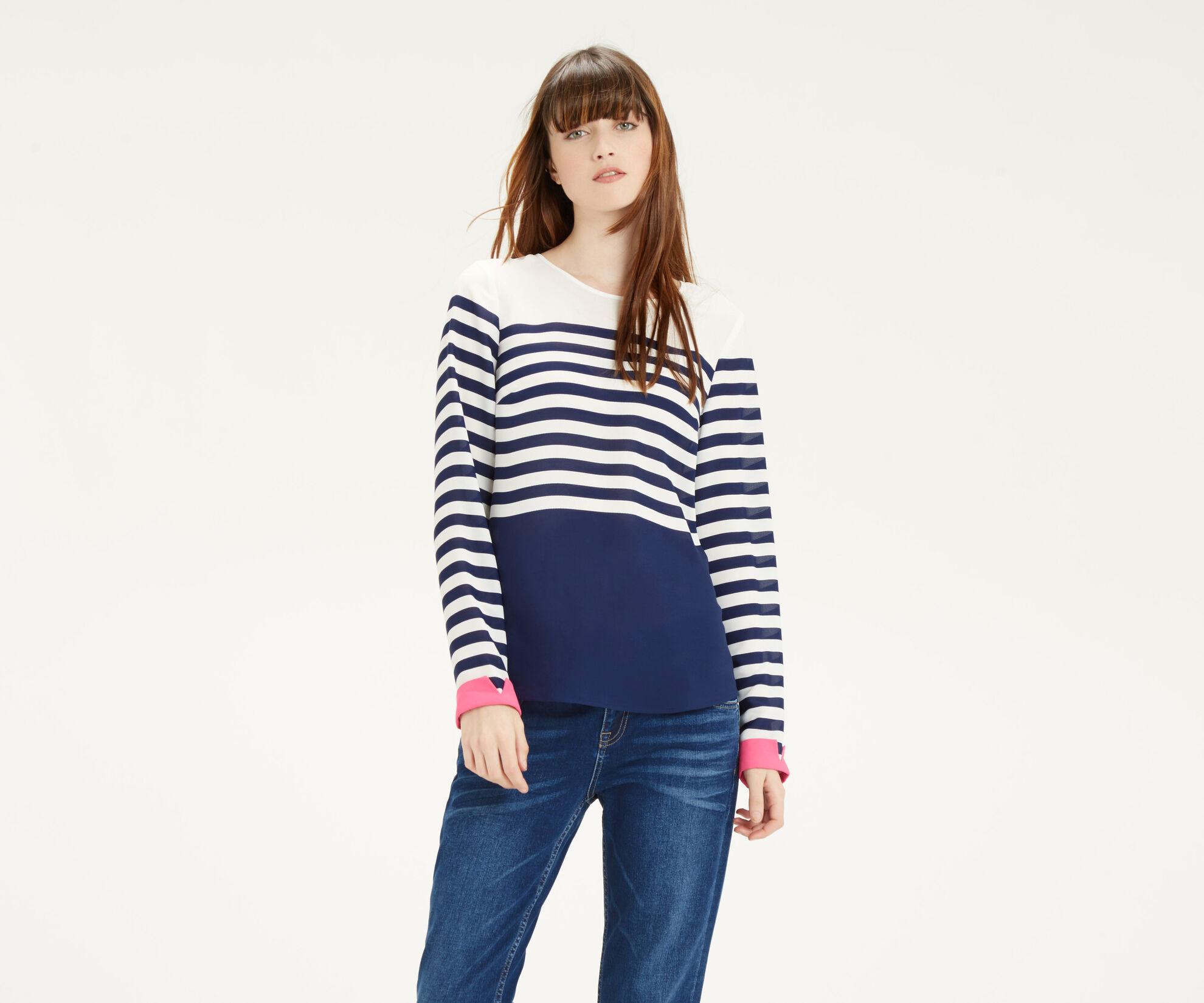 Oasis, Stripe Colour Block Top Multi 1