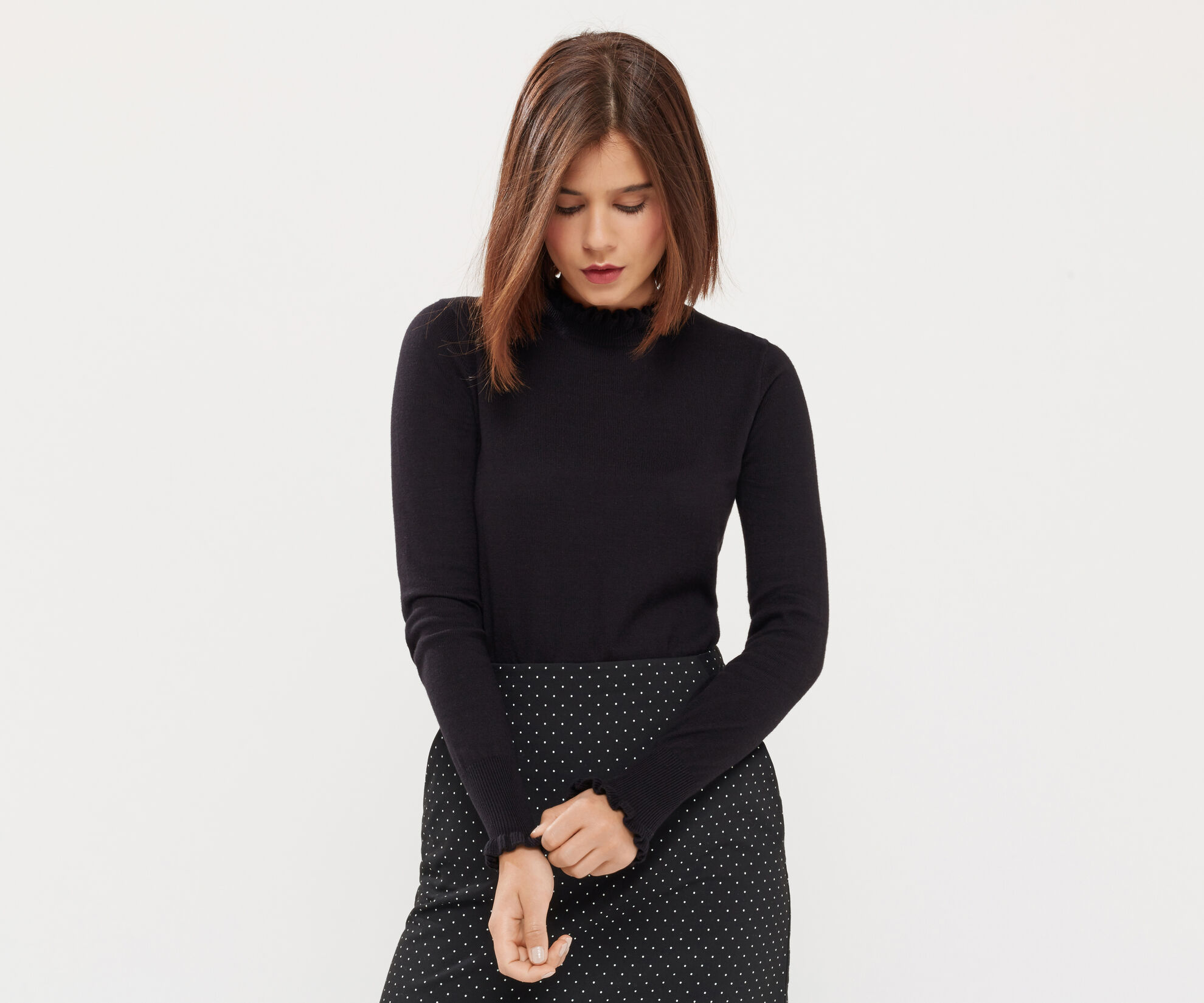 Oasis, THE FRILL KNIT Black 1