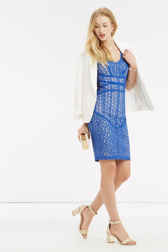 Oasis, Piped Lace Dress Light Blue 2