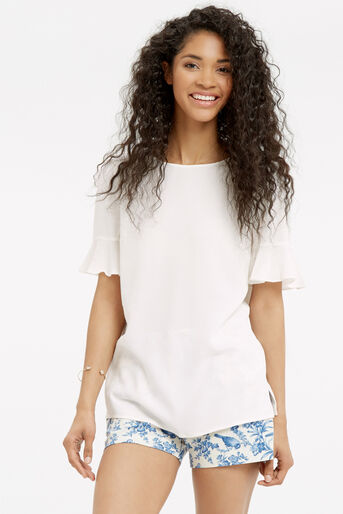 Oasis, FLUTED SLEEVE TOP Off White 1