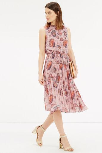 Oasis, Goddess Tie Neck Dress Multi Natural 2