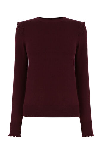 Oasis, FRILL SHOULDER & CUFF KNIT Burgundy 0