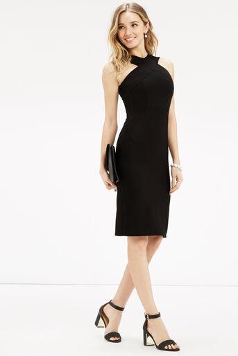 Oasis, Cross Front Rib Tube Dress Black 2